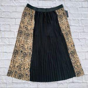 Bob Mackie Animal Print Pleated Maxi Skirt M-L